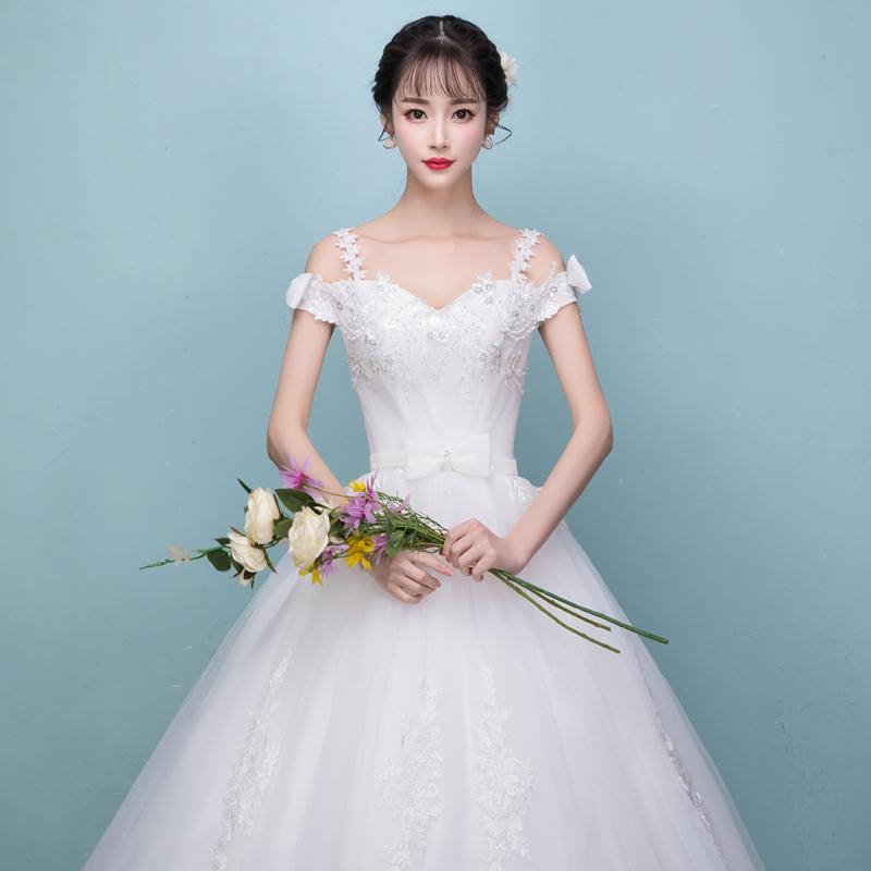 2018新款婚纱礼服新娘一字肩孕妇高腰大码显瘦森系苏州婚纱一条街