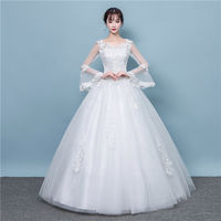 Wedding dress new 2019 bride wedding long tail long sleeve slim slimming Korean version of the large size Qi wedding dress winter
