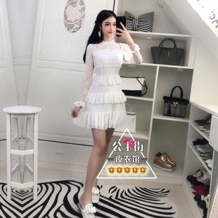 2017冬装新款气质名媛长袖蕾丝拼接高腰蓬蓬短裙层层蛋糕连衣裙