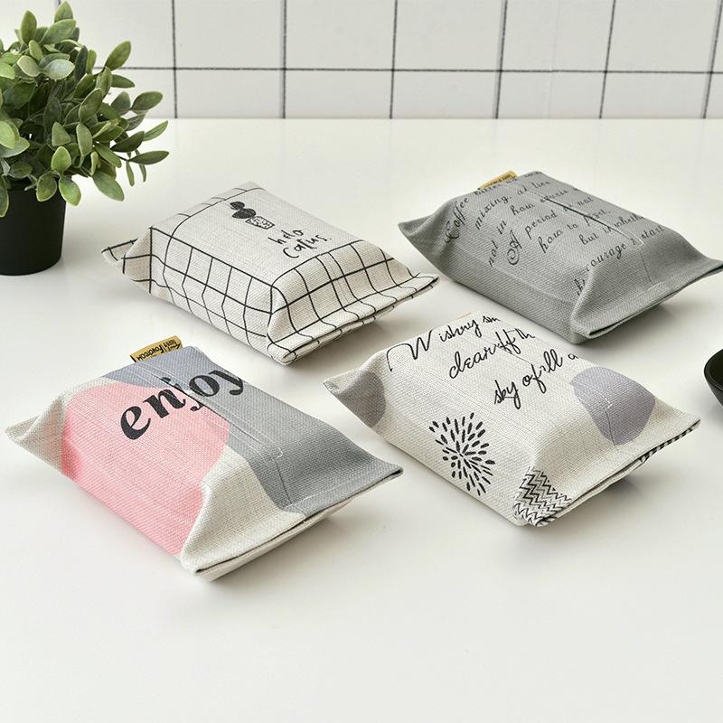 创意抽纸盒浅浅系列加厚棉麻布艺车载餐厅印花纸巾套车内纸巾盒