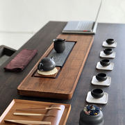 Wujinshi tea tray drainage simple Kung Fu tea set heavy bamboo tea table solid wood household tea sea bamboo system