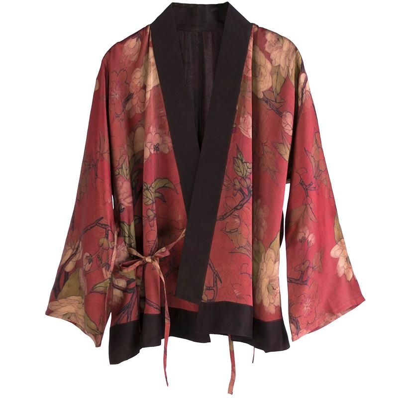 真丝香云纱印花交领上衣丨热销推荐丨中式复古系带民国风汉元素服