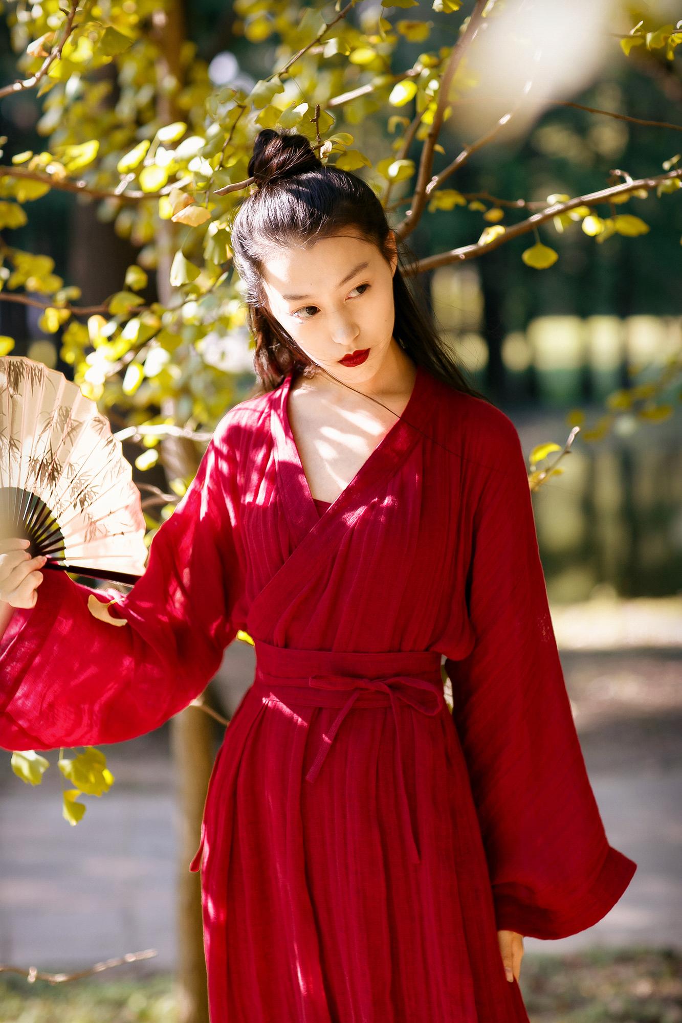 醉红尘丨热销推荐丨中式复古汉元素服装交领长袍亚麻纱丨简爱设计