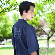 重回汉唐锦瑟原创日常汉服男装传统cp情侣装绣花对襟半臂夏款