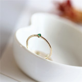G9K Gold + Natural Emerald Light Luxury Jewelry Fine Ring Gift Girl