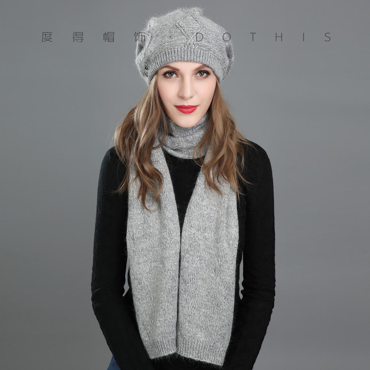 帽子女韩版冬季潮新款毛线帽围巾两件套时尚百搭针织帽韩国妈妈帽