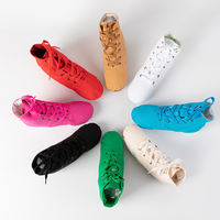 Velcro canvas jazz shoes children soft bottom shoes adult jazz shoes practice shoes high help jazz boots dance boots red and white