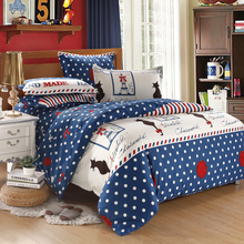 Beijing welcome home textile fashion cotton four piece set of cotton stripes simple bed sheet winter Han edition kit mail