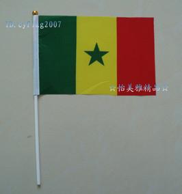 塞内加尔国旗、塞内加尔手摇旗手挥旗8号(规格:14*21CM)