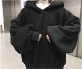 2017新款春季连帽套头灯笼袖薄款卫衣女韩版学生短款宽松bf风上衣