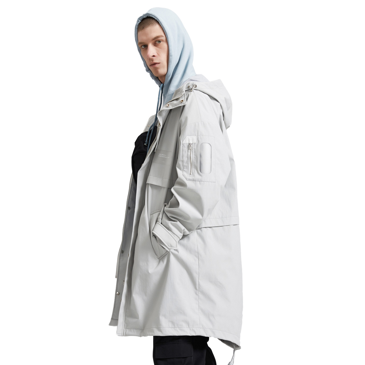 Lilbetter风衣男 连帽中长款夹克时尚休闲学生秋装大衣男士外套潮