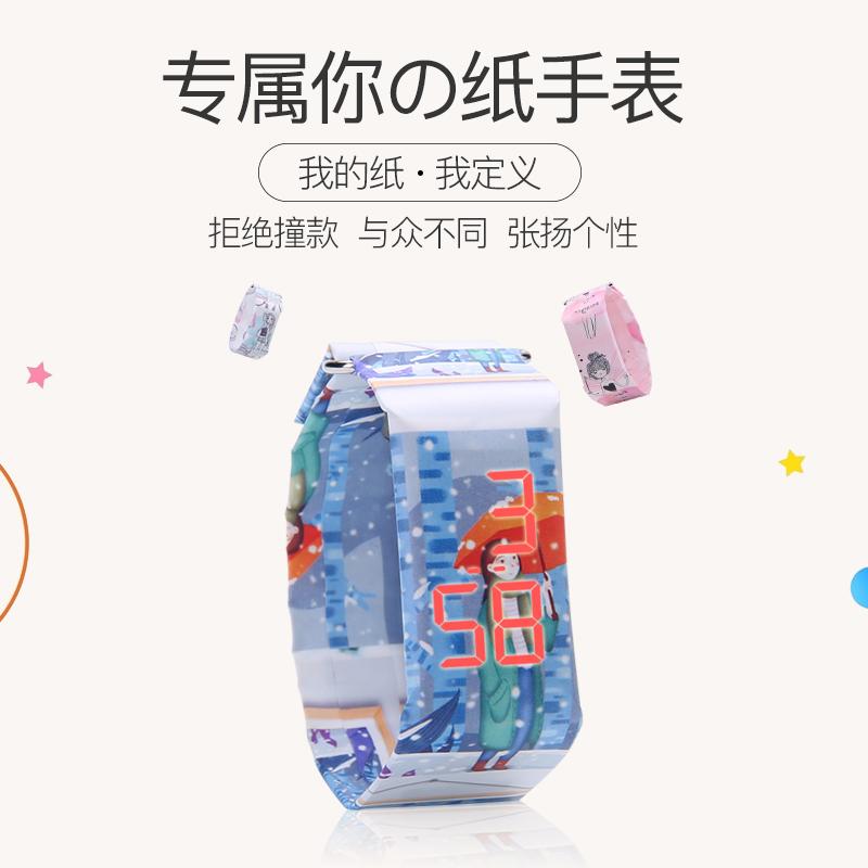 新款潮流LED纸手表女学生韩版电子简约防水手表男创意情侣手表