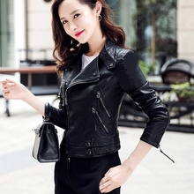 Zipper Short Leather Jacket Water-washed Leather Jacket Long Sleeve Coat New Decoration in Autumn 2019