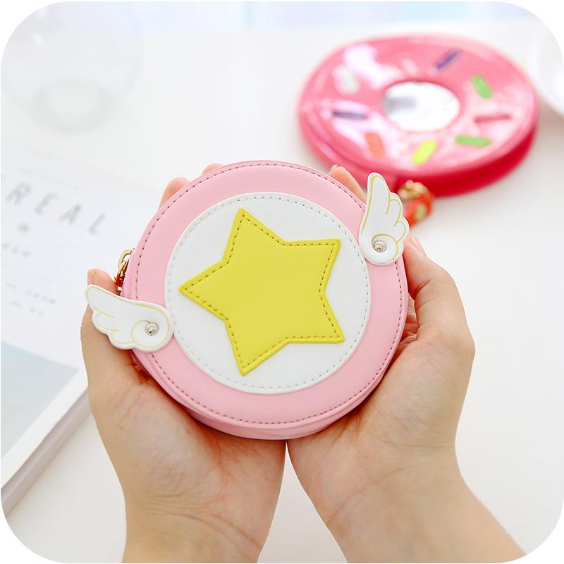 韩国可爱女生零钱包 水果圆形皮质创意小钱包钱袋 卡套带拉链包