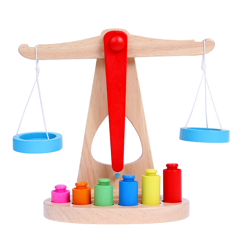 Children's teaching aids Montessori early education wooden Monte digital balance called toy arithmetic day