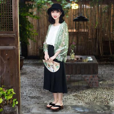 妖迹复古汉服短外套日式和服开衫百搭宽松雪纺衫和风上衣防晒衣