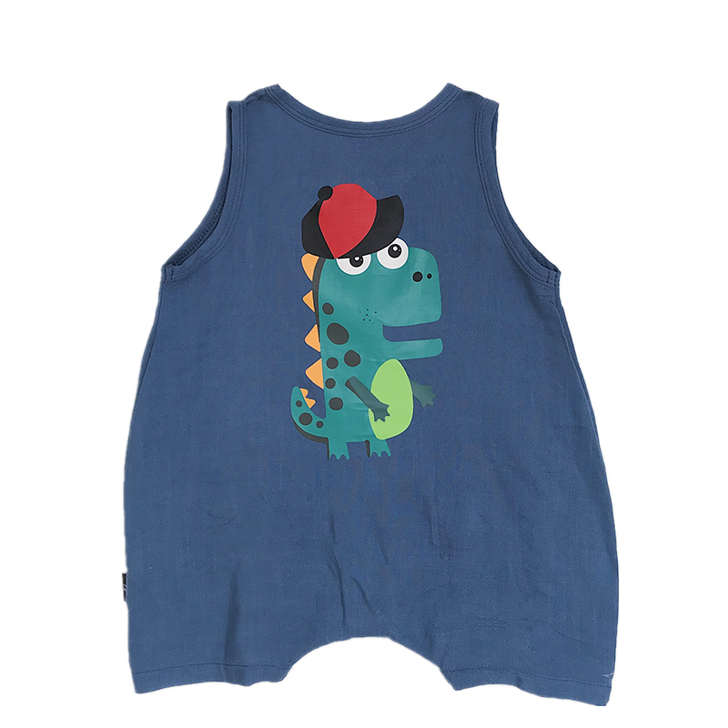 米粒家婴童夏季卡通爬服男女宝宝恐龙背带裤连体衣儿童人棉哈衣