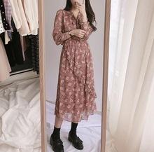 碎花连衣裙 小仙女裙 高腰 粉色 绑带 荷叶袖 青提韩国代购