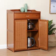 竹柜餐边柜储物柜 现代简约茶水柜碗柜酒柜简易餐厅厨房柜玻璃门