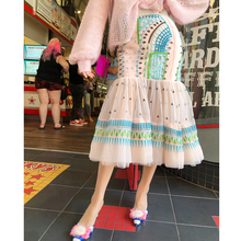 LIN CHAO ZHANG Romantic Fishtail Modeling Geometric Embroidery Printing Stitching Colour-impact Design Half-length Skirt