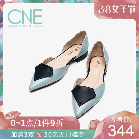 9折CNE2019夏季新品尖头浅口中空撞色钻石形低跟女凉鞋AM12707商品大图