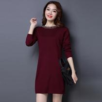 新款秋款针织袖毛衣连衣裙女大码少妇女装适合20-25至30-35到40岁