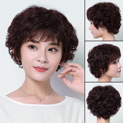 假发女短发送妈妈蓬松短卷发中老年假发真发丝中年女士短发假发套