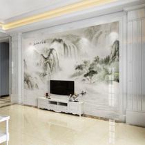 定制水墨山水客厅电视背景墙壁纸中式书房无缝壁画影视墙墙纸墙布