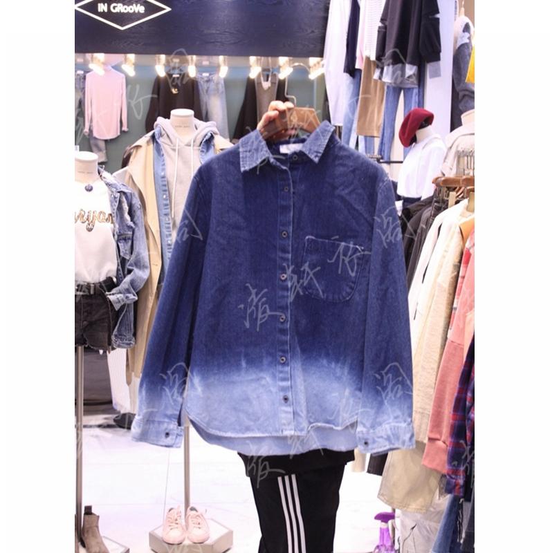 韩国东大门代购新款女装WATER JEANS 女士拼色系扣长袖衬衫均码