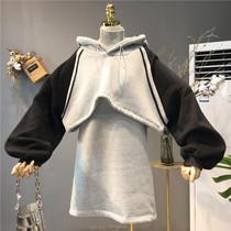 2018秋冬新款韩版女装拼色高领两件套连帽加绒加厚长袖卫衣连衣裙