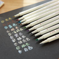 Star metal high light color soft pen paint pen album diy handmade special pen black card paper gold pen