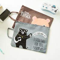 Cartoon Multifunction Handcuffs A4 File Bag Student Learning Kit Cute Animals Portable Zipper File Bag