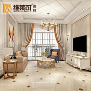 客厅瓷砖 通体大理石地板砖800x800灰色 白色防滑地砖 电视背景墙
