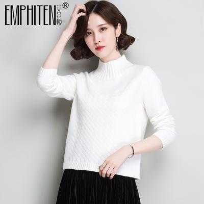 高领短款白色小毛衣女套头女款小款修身秋冬百搭女士长袖白打底衫