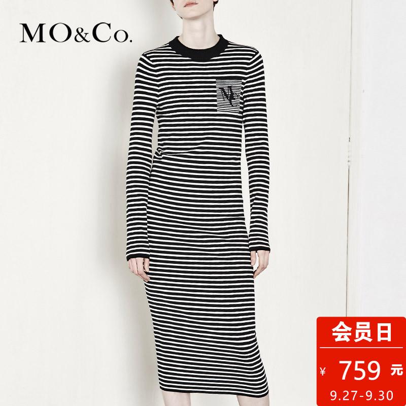 细条纹连衣裙
