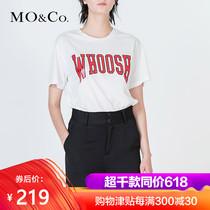 MOCO圆领套头撞色字母标语休闲短袖T恤MA172TEE206 摩安珂