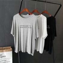 欧美慵懒风柔软莫代尔宽松显瘦圆领短袖T恤大码女装夏季蝙蝠衫