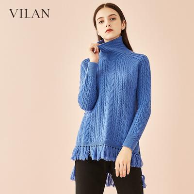 vilan/慧兰针织衫女2018冬装新款韩版宽松长袖立领套头毛衣打底衫