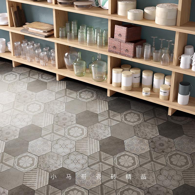 六角砖 北欧小花砖六边形瓷砖卫生间墙砖厨房防滑地砖水泥砖花砖