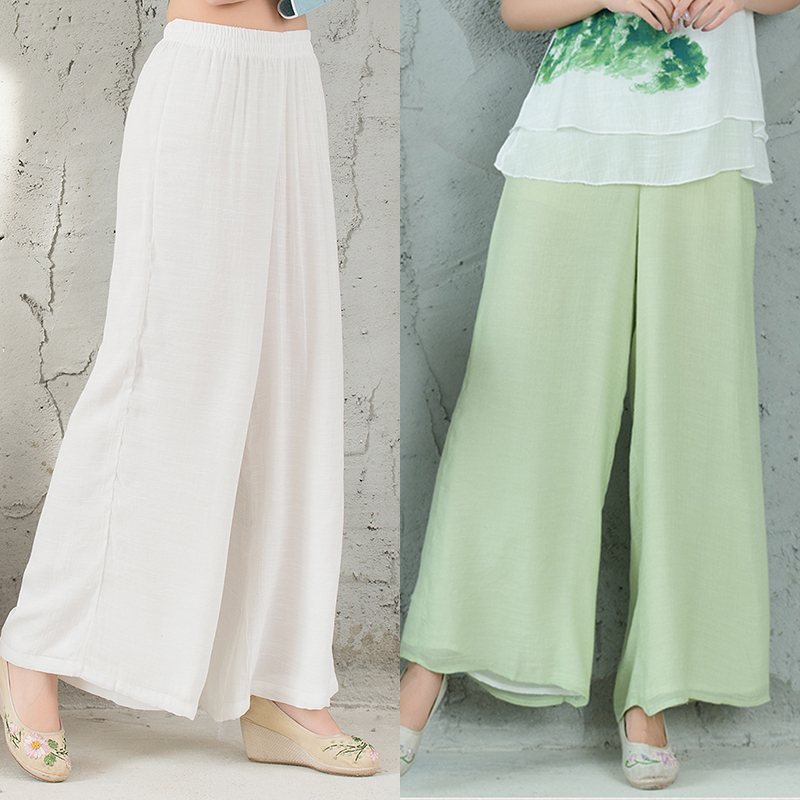 Summer new Tang suit cotton and linen wide leg pants women pants national wind women loose white complexion