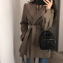 Woolen coat female 2018 autumn and winter new retro casual tie thickening woolen small suit short coat women's clothing