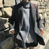 气质灰2018秋冬新款chic毛呢加厚修身西装外套简约短款呢子大衣女