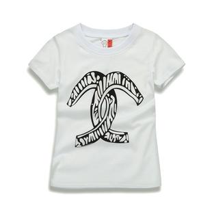 【90-100码】女童短袖T恤 童装圆领卡通休闲女孩韩版小童中长款
