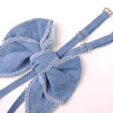 Experience underwear with women's accessories new bra lace denim bow diamonds summer strapless shoulder straps