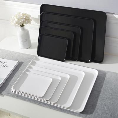 家用长方形托盘塑料商用水杯盘茶盘杯子拖盘北欧密胺白色面包盘子