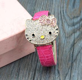 手表KT猫卡通腕表送给儿童生日礼物小学生喜爱的女孩子翻盖好玩表