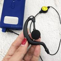 Millet walkie talkie headset clips Android phone personality smiley headphone cable black and white color notes