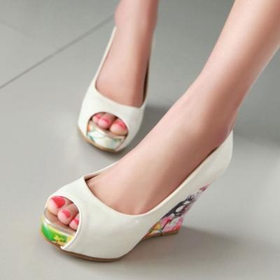 韩版春秋夏季高跟鞋百搭一脚蹬鱼嘴鞋防水台女皮鞋子单鞋坡跟凉鞋