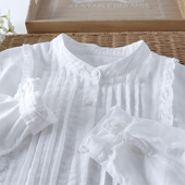 全棉清新文艺立领 打褶木耳边纯色大码衬衫 甜美简约双层棉纱衬衣