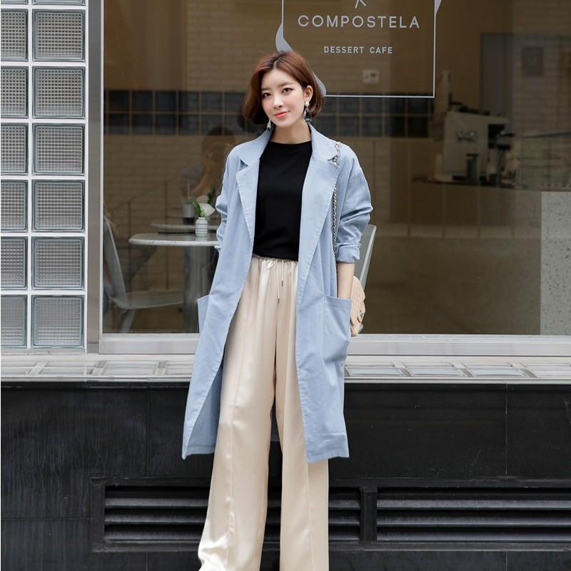韩国代购正品长款风衣时尚起义2018春装新款风衣长外套女726591